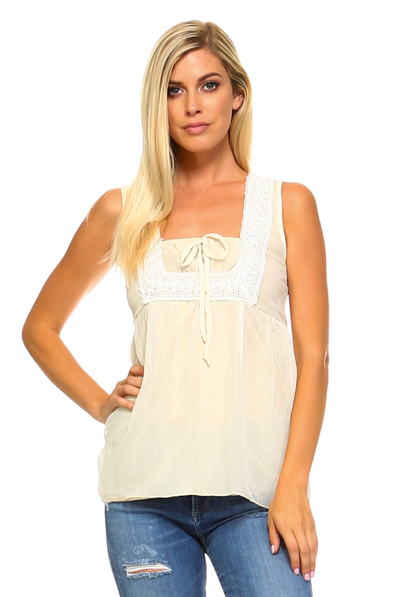 Women's Crochet Tie Sleeveless Top