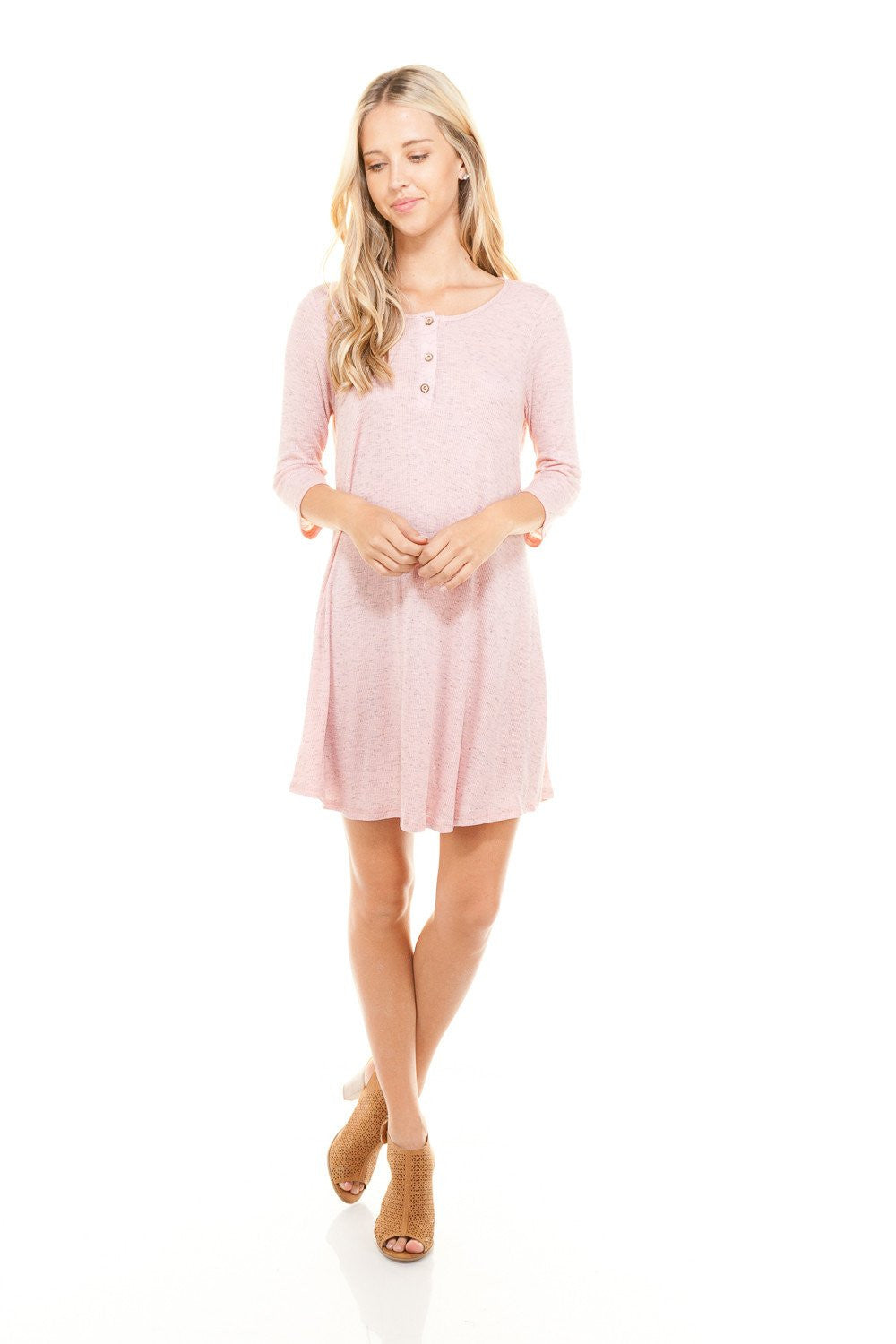 Women's 3/4 Three Quarter Sleeve Button Down Dress
