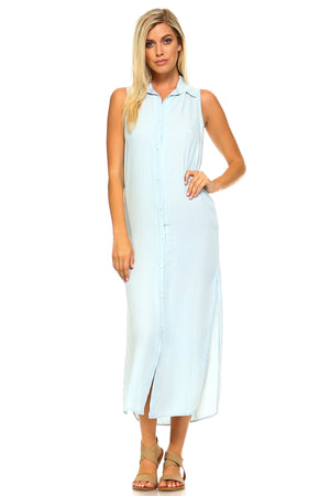 Women's Button Down Denim Side Slit Dress