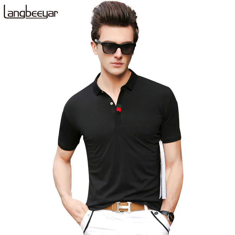 Top Grade 2018 New Fashion Men Polo Shirt Brands Mandarin Collar Slim Fit Short Sleeve Polo Shirts Men Solid Color Poloshirt Men
