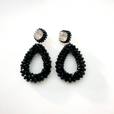 Earrings with black stones