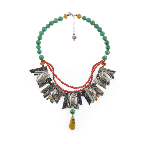 Collar corchete triple con aves