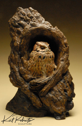 Morning Sky, Screech owl Sculpture by Kurt Robinette