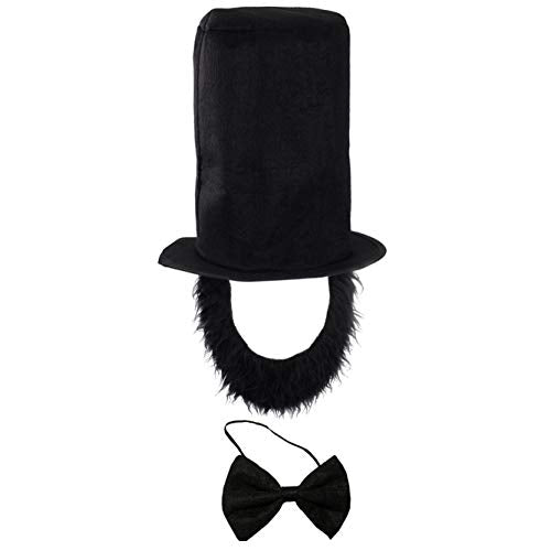Tigerdoe Abraham Lincoln Costume - 3 Pc Set - Abraham Lincoln Hat, Beard, and Bowtie - Patriotic Costumes