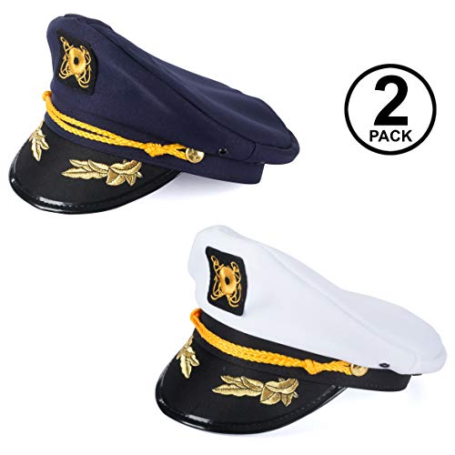 Tigerdoe Captain Hats - 2 Pack - Skipper Hat - Yacht Hats - Nautical Costume Accessories