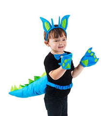 Tigerdoe Blue and Green Dragon Costume Set (Headband, Bowtie, Cuffs, Tail)