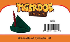 Tigerdoe Alpine Hat - German Hats - Alpine Hat with Feather - Green Tyrolean Hat - Bavarian Hat - Costume Hats