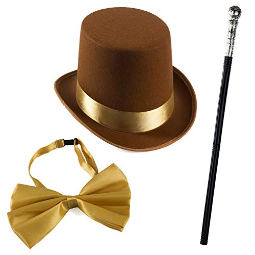 Tigerdoe Brown Top Hat and Bow Tie with Walking Scepter- 3 Pc Chocolate Factory Costume Set-Steampunk Hat
