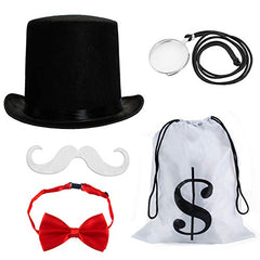 Tigerdoe Board Game Costume - Money Bag - 4 Piece Set - Top Hat - Mustache - Bowtie
