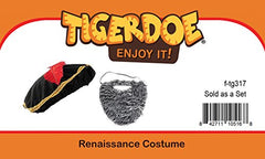 Tigerdoe Renaissance Costume - 2 Pc Set - Medieval Hat with Beard - Medieval Costumes - Renaissance Costume Accessories