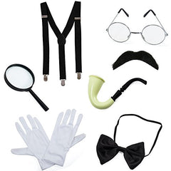 Detective Costume - 7 Pc Costume Accessories, Spy Costume, Spy Kit - Secret Agent Costume by Tigerdoe