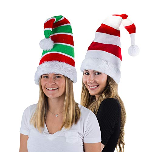 Tigerdoe Santa Hat & Elf Hat - 2 Pack Christmas Hats - Holiday Theme Hats - Novelty Costume Hats