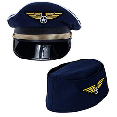 Tigerdoe Pilot Hat - 2 Pack - Captain Pilot Hat - Pilot and Flight Attendant Costume - Couples Costumes
