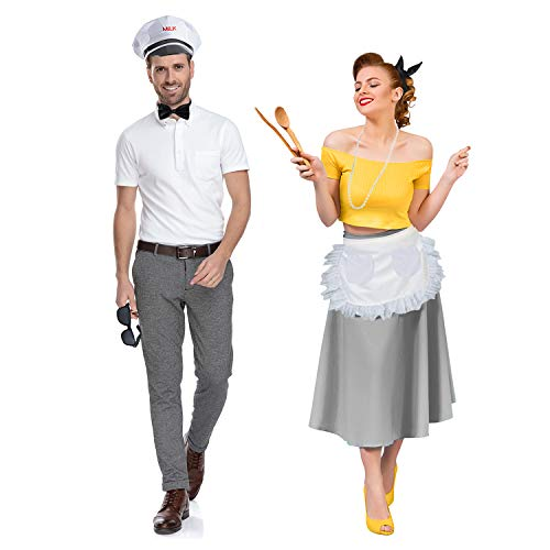 Tigerdoe Milk Man & Housewife Costume - 50's Costumes - Couples Costume - 1950s Costumes White