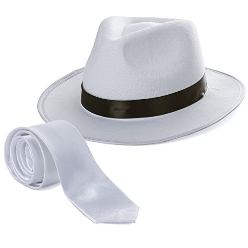 Tigerdoe Fedora Gangster Hat - Mobster Costume - Felt Hat & White Neck Tie - (2 Pc Set) Fedora Hat by
