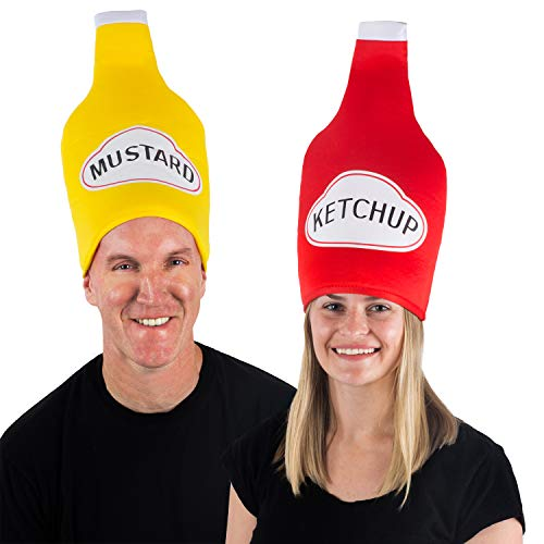 Tigerdoe Couples Costumes - Ketchup & Mustard Hats - Food Hats - Funny Adult Halloween Costumes