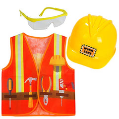 Tigerdoe Kids Dress Up - 8 Hard Hats & 8 Vests- Construction Party Favors