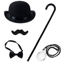 Tigerdoe Gentlemans Costume – Victorian Costume Accessories – 1920s Accessories Men – Victorian Costume – 5 PC Costume Set for Men Black