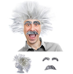 Mad Scientist Costume - Scientist Costume - Scientist Wig - Physicist Costume - (3 Piece Set) by Tigerdoe