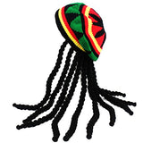 Tigerdoe Rasta Hat with Dreadlocks - 4 Pc Set - Stoner Costume - Jamaican Rasta Hat - Ragae Costume