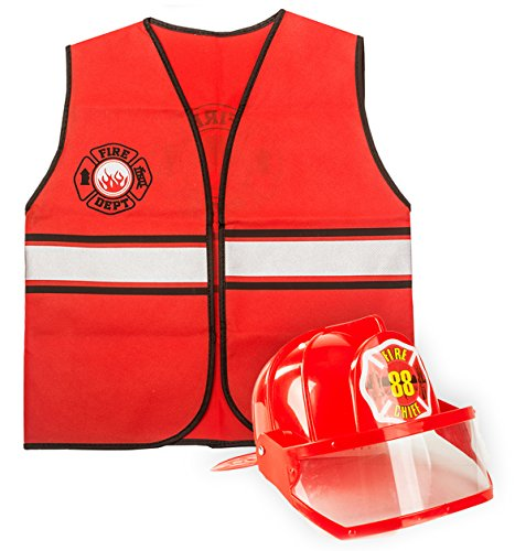 Tigerdoe Fireman Costume - Construction Costume - Occupation Costume by (Red Fireman Hat and Vest)