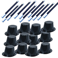 Tigerdoe Party Favors - Magician Birthday Party Supplies,12 Magician Hats & 12 Magic Wands