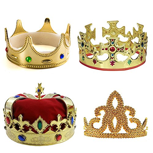 Tigerdoe Kings Crown - 4 Pack - Royal King Crowns and Princess Tiara - Costume Accessories