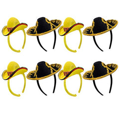 Tigerdoe Sombrero Headbands- 8 Pack Set- Mexican Sombrero Hats- Cinco De Mayo Costumes- Fiesta Hats- Mini Sombrero Party Hats Yellow
