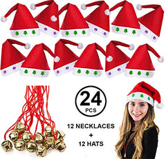 Tigerdoe Santa Hats Bulk - Dozen Santa Hats - Dozen Jingle Bell Necklaces - Christmas Hats (24 Pc)
