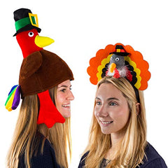 Tigerdoe Turkey Hats - 3 Pack Plush Turkey Costumes - Thanksgiving Party Hats - Roasted Turkey Hat
