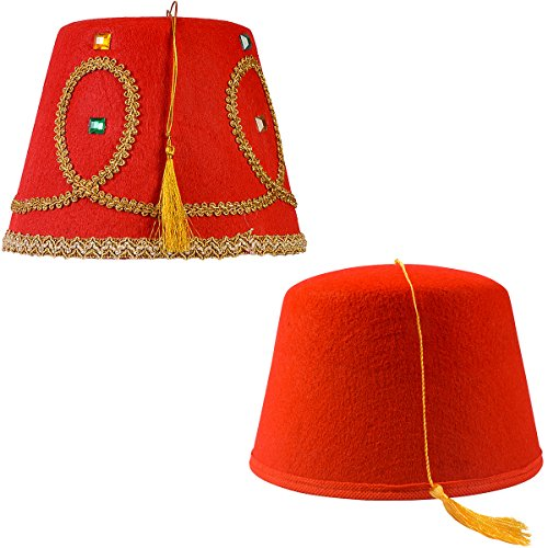 Tigerdoe Fez Hat - 2 Pack - Red Fez Hat with Gold Tassel - Turkish Hat - Moroccan Hat - Shriner Hat