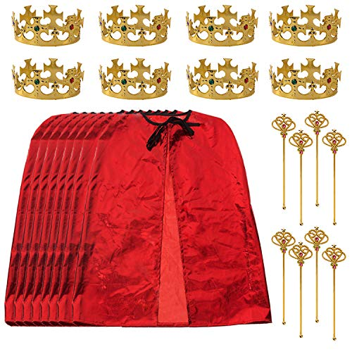 Tigerdoe King Party Set- King Costume Set- 8 Regal Red Robes, Kings Crowns, and Royal Scepters- Costume Accessories