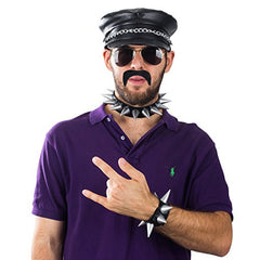 Biker Costume Men - 5 Pc Set - Biker Hat - Biker Costume Accessories - Gothic Jewlery - Punk Accessories