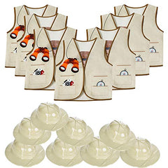 Tigerdoe Pith Helmets for Kids - 8 Safari Hats & 8 Vests - Jungle Party Supplies - Safari Party Favors - Dress Up for Kids