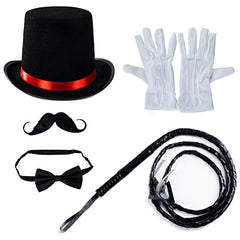 Tigerdoe Ringmaster Costume accessories - Ringmaster Hat - 5 accessories - Circus Party Supplies