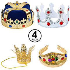 Tigerdoe King Crowns - 4 Pack - King and Queen Crowns - Costume Crowns - Dress Up - King Costume Accessories
