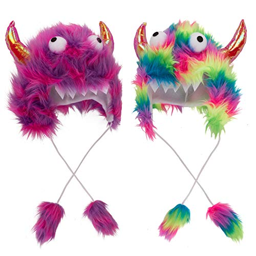 Tigerdoe Monster Hat Costume-2 Pack-Cute Halloween Accessories- Monster Theme Birthday Party Supplies- Funny Furry Hats
