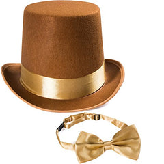 Tigerdoe Costume Hats - Top Hat w/Bow Tie - Costume Accessory Set - Brown Hat w/Neck Tie