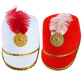 Adult Toy Soldier Hat Marching Band Drum Major Blue Red Costume Accessory