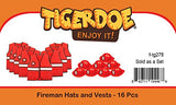 Tigerdoe Fireman Party Hats - 8 Fireman Hats with 8 Fireman Vest - Fireman Themed Party - Fireman Birthday Party Supplies