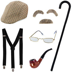 Tigerdoe Old Man Costume - Grandpa Costume - Old Man Glasses, Eyebrows, Mustache, Hat, Pipe, Suspenders, Cane - 7 Pc Set