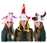 Tigerdoe Animal Costume Hats - 3 Pack - Cow Hat, Pig Hat & Chicken Hat - Farm Animal Hats