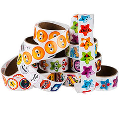 Sticker Roll - 10 Sticker Rolls - 1000 Assorted Stickers - Stickers for Kids - Teachers Stickers by Tigerdoe