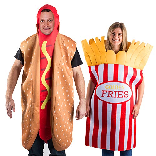 Tigerdoe Hotdog and French Fries Couple Costume - Halloween Funny Costume - Novelty Costumes - 2 Pc Set