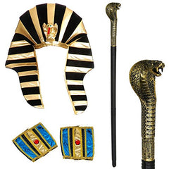 Tigerdoe Egyptian Costume - 3 Pc Set - Pharaoh Hat, Egyptian Belt and Cuffs - Pharaoh Costume