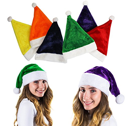 Tigerdoe Colorful Santa Hat - 6 Christmas Hats - Colored Santa Hats - Holiday Hats (6 Pc) -Santa Hats for Adults by