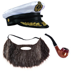 Tigerdoe Yacht Captain Hat and Sailor Hat with Corn Cob Pipe & Aviator Sunglasses Sailor Costume
