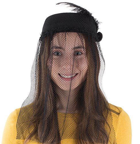 Tigerdoe Pillbox Hat - Funeral Hats for Women - Hat with Veil - Widow Hat with Veil - Vintage Hats for Women
