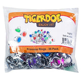 Tigerdoe Rhinestone Plastic Rings – Princess Rings – Gemstone Rings - Princess Theme Party Favors - Bulk Assorted Toy Rings