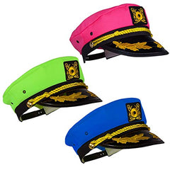 Tigerdoe Yacht Hats - 3 Pack - Captains Hat - Neon Captain Hat - Boaters Hats - Costume Hats - Novelty Hats
